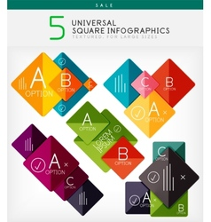 Square infographics option banners collection vector