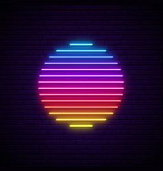 sun neon sign glowing futuristic sun symbol on vector image