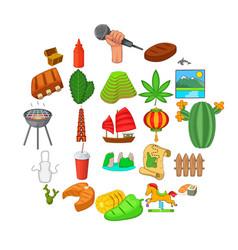 tourist spot icons set cartoon style vector image
