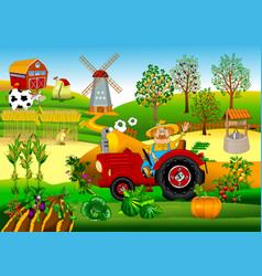 tractor driver on a farm vector image