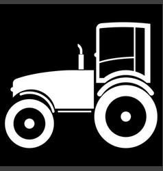 tractor the white color icon vector image