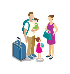 traveling young family with children vector image