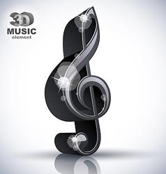 Treble clef 3d black music design element vector image