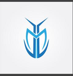 tribal shape letter m vector image