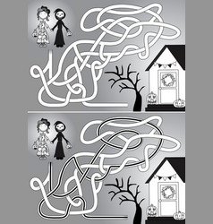 Trick or treat maze vector