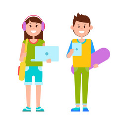 two joyful teenagers dressed in casual clothes vector image