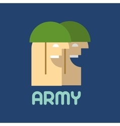 Two soldiers Flat silhouette Military logo vector image