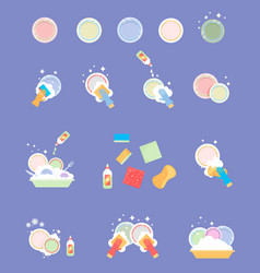 wash the dishes house cleaning vector image