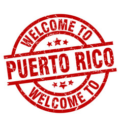 Welcome to puerto rico red stamp vector