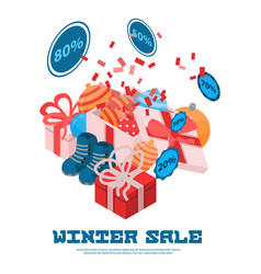 winter sale concept background isometric style vector image