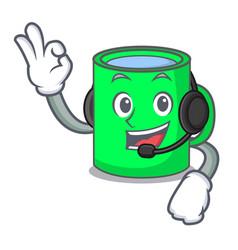 With headphone mug mascot cartoon style vector