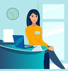 Woman office employee secretary administrator vector