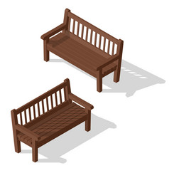 Wooden park bench set vector
