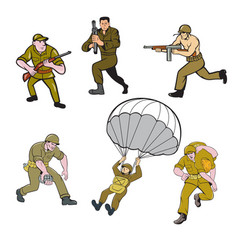 world war two soldier cartoon set vector image