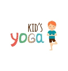 Yoga for kids isolated logo design vector