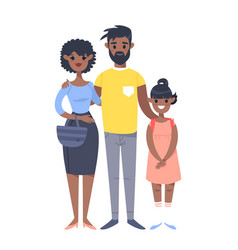 young couple with daughter hand drawn black woman vector image