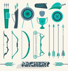 Archery Icons and Silhouettes vector image vector image