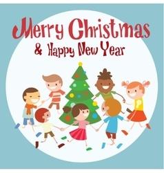 Children round dancing christmas tree in baby club vector