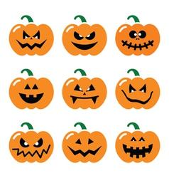 Halloween pumpkin icons set vector image vector image