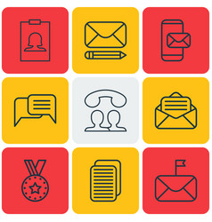 set of 9 social icons includes edit mail vector image