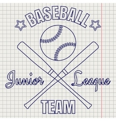 Baseball logo on notebook page vector image vector image