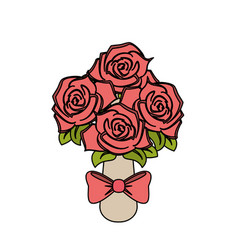 color image wedding bouquet of pink roses vector image vector image