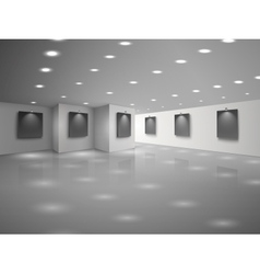 Empty white hall interior with blank black vector image vector image