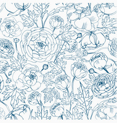 Floral seamless pattern with blooming ranunculus vector