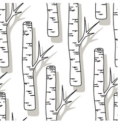 Birch tree pattern black and white trees seamless vector
