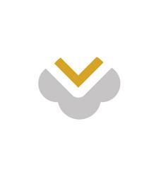 cloud letter v logo vector image