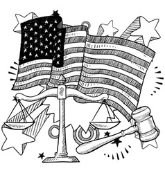 doodle americana justice bw vector image