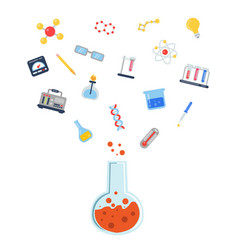 flat style science icons vial vector image vector image