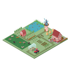 isometric agricultural farming concept vector image vector image