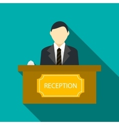 Male receptionist at hotel reception icon vector image