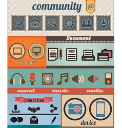 Set of retro social media icons vector image vector image
