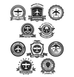 aviation badges and air trip tour symbols vector image vector image