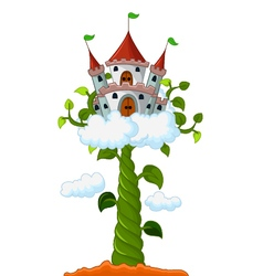 Bean sprout with castle in the clouds cartoon vector