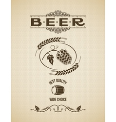 beer ornate hops design background vector image