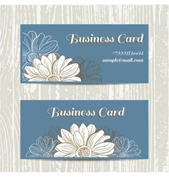 Business Cards With Camomiles vector image vector image