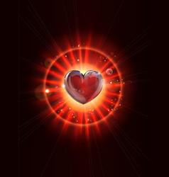 dynamic light rays heart vector image