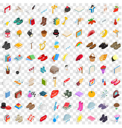 100 old icons set isometric 3d style vector