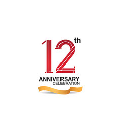 12 anniversary celebration logotype with red vector