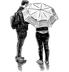 a couple townspeople met in rain vector image