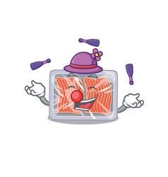 An attractive frozen salmon cartoon design style vector