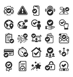 Approve icons interviewed accepted document vector