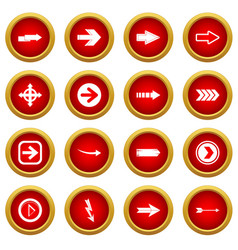 Arrow icon red circle set vector