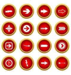 Arrow icon red circle set vector
