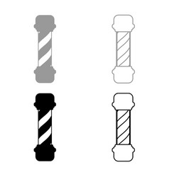 barber shop pole icon set grey black color vector image