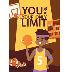 Basketball player in uniform with ball supplies vector