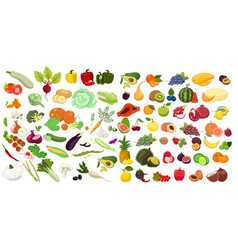 Big set vegetables and fruits isolated vector